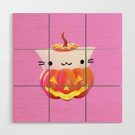 Pumpkin Cat Wood Wall Art