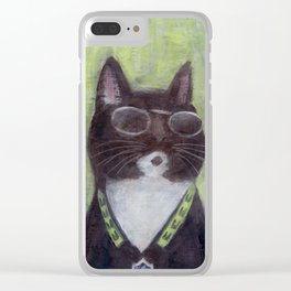 Cat in Shades Clear iPhone Case