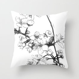 Cherry Blossoms Minimal Drawing Throw Pillow