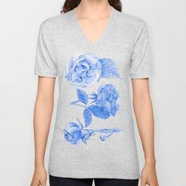 Blue Roses Watercolor Unisex V-Neck