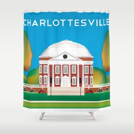 Charlottesville, Virginia - Skyline Illustration by Loose Petals Shower Curtain