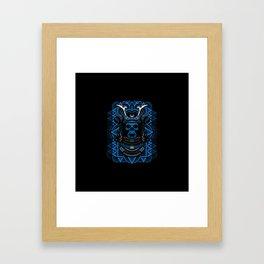 Samurai Skull Blue Framed Art Print