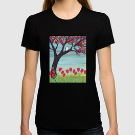 tree swallows in the stained glass tree with tulips and frogs T-shirt