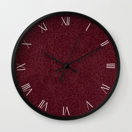 Red maroon leather sheet background Wall Clock