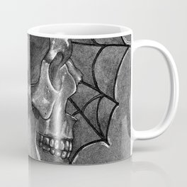 Black Grey and White, American Style Tattoo Skull Coffee Mug