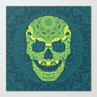 sugar skull Canvas Prints featuring Sugar skull by Julia Badeeva