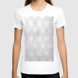 Silver and gray geometric pattern metallic look T-shirt