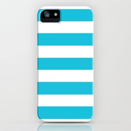 Caribbean blue - solid color - white stripes pattern iPhone Case