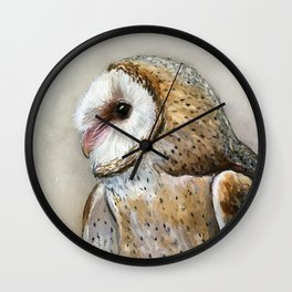 Barn Owl Watercolor, Birds Of Prey Wild Animals Owls Wall Clock