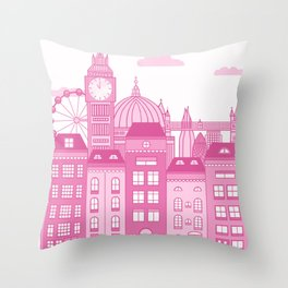 London Skyline Pink Throw Pillow