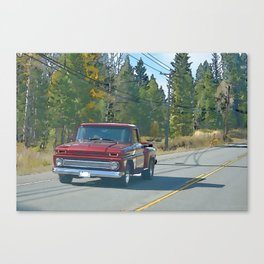 Cool Red Truck and Country Road Canvas Print