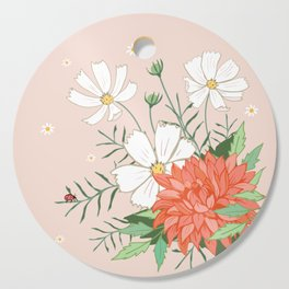 Cosmos and Dahlia on Pink Cutting Board
