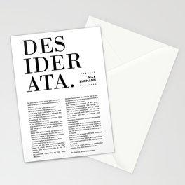 Desiderata by Max Ehrmann - Typography Print 13 Stationery Cards