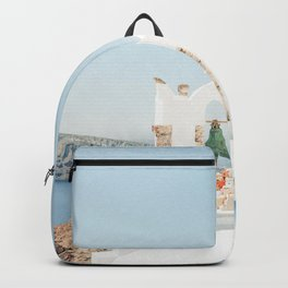 View of the Sea and Santorini, Greece Backpack