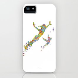 Peter Pan and Tinker Bell Watercolor iPhone Case