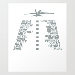 Airplane pilot phonetic alphabet Art Print
