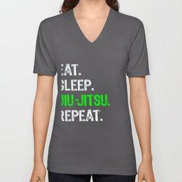 Funny MMA & Jiu Jitsu for Boys Gift Eat Sleep Jiu Jitsu Repeat Unisex V-Neck
