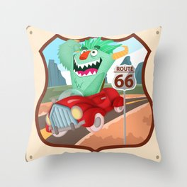speeddemon on route 66 Throw Pillow