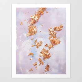 Rose Gold Crumbs on Abstract Watercolor Art Print