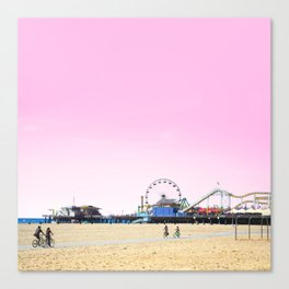 Santa Monica Pier with Ferries Wheel and Roller Coaster Against a Pink Sky Canvas Print