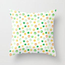 Hand painted brown yellow green watercolor polka dots Throw Pillow