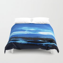Arm from Above Plays with the Sunset Duvet Cover
