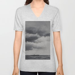 Storm Clouds Gathering Over Shipwreck, Abandoned Shipwreck In Ocean, Seascape Print Photo, Wall Art Unisex V-Neck