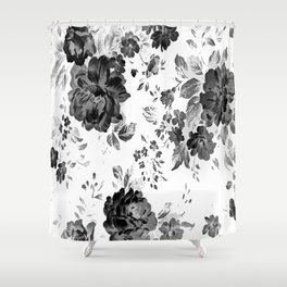 ROSES BLACK AND WHITE AND GRAY VINTAGE Shower Curtain