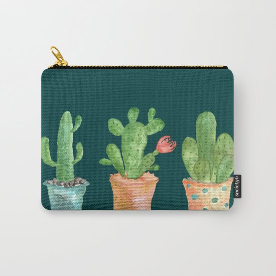 Three Green Cacti On Green Background Carry-All Pouch