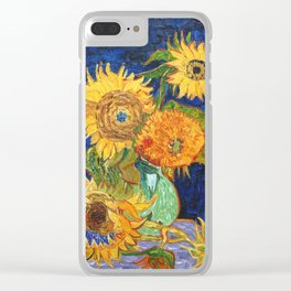 Van Gogh, Five Sunflowers 1888 Artwork Reproduction, Posters, Tshirts, Prints, Bags, Men, Women, Kid Clear iPhone Case