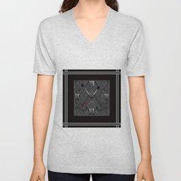 Watch. Black and white pattern . Unisex V-Neck