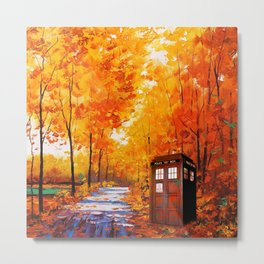 Tardis Autumn Art Painting Metal Print