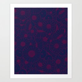 Floral Bunch Blue Red Art Print