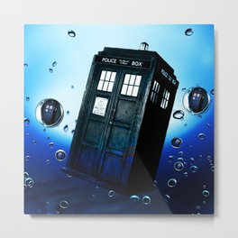 Tardis And Bubble Metal Print