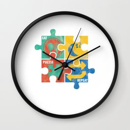Eat Sleep Jigsaw Puzzle Repeat Puzzler Brain Teaser Paradox Games Gift Wall Clock