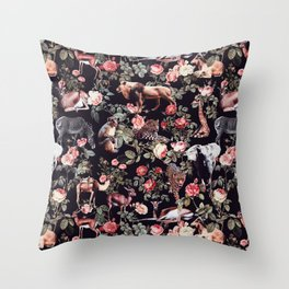 Animals and Floral Pattern Throw Pillow