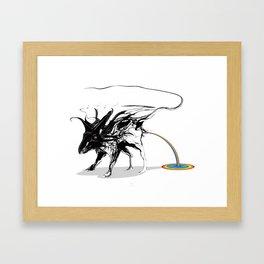 Rat and rainbow. Black on white background-(Red eyes series) Framed Art Print