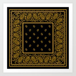 Classic Black and Gold Bandana Art Print