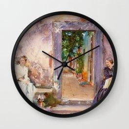 """John Singer Sargent """"The Garden Wall"""" Wall Clock"""