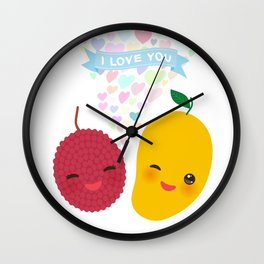 I love you Card design with Kawaii lychee and mango with pink cheeks and winking eyes Wall Clock