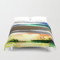 santa monica Duvet Covers featuring Santa Monica Pier Tricolor by Christine aka stine1