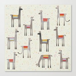 Llamas in the Meadow Canvas Print