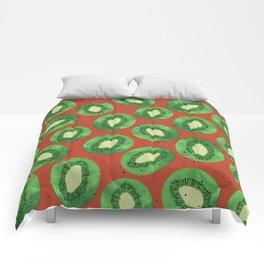 Kiwis on Orange Comforters