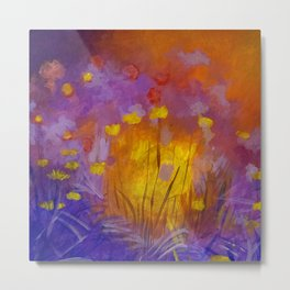 Abstract Wilflowers in the Setting Sun Metal Print
