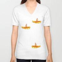 yellow submarine V-neck T-shirts featuring Fabric Yellow Submarine by AnnaCas