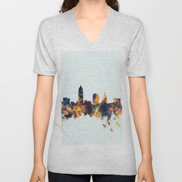 Cleveland Ohio Skyline Unisex V-Neck