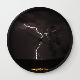 Lighting bolt during an obscure night Wall Clock