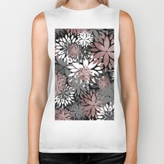 Pretty rose gold floral illustration pattern Biker Tank