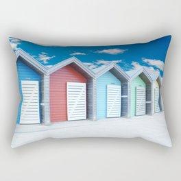'Beach huts' Northumberland Rectangular Pillow