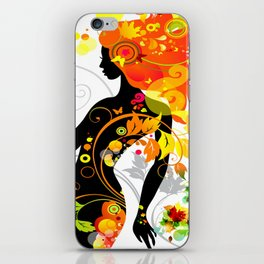 Autumn decorative composition with girl iPhone Skin
